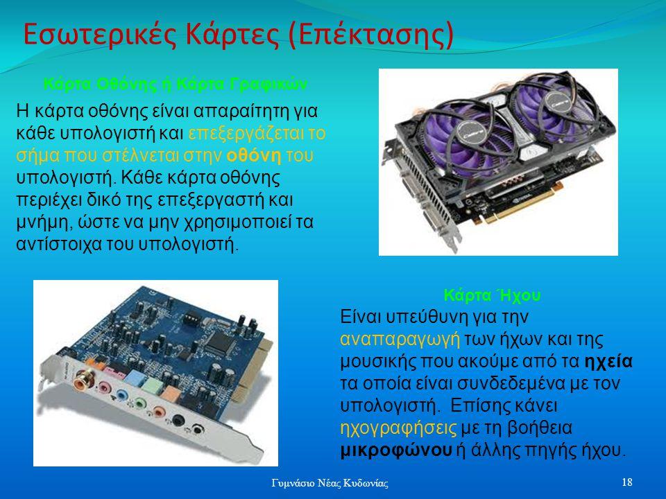 Εσωτερικές Κάρτες (Επέκτασης) Κάρτα Οθόνης ή Κάρτα Γραφικών Η κάρτα οθόνης είναι απαραίτητη για κάθε υπολογιστή και επεξεργάζεται το σήμα που στέλνετα