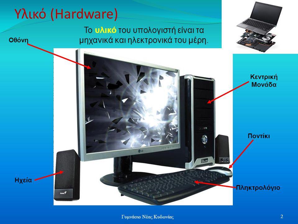 Υλικό (Hardware) Οθόνη Ηχεία Πληκτρολόγιο Ποντίκι Κεντρική Μονάδα Το υλικό του υπολογιστή είναι τα μηχανικά και ηλεκτρονικά του μέρη. 2 Γυμνάσιο Νέας