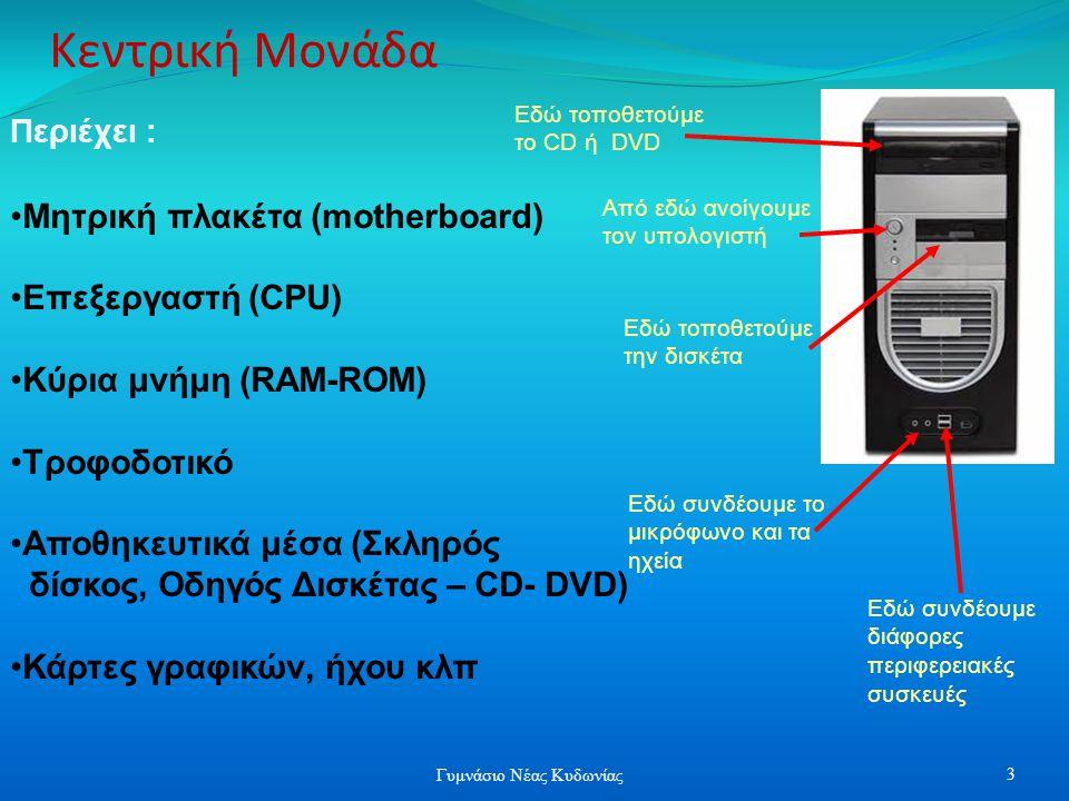 Κεντρική Μονάδα Εδώ τοποθετούμε το CD ή DVD Περιέχει : Μητρική πλακέτα (motherboard) Επεξεργαστή (CPU) Κύρια μνήμη (RAM-ROM) Τροφοδοτικό Αποθηκευτικά