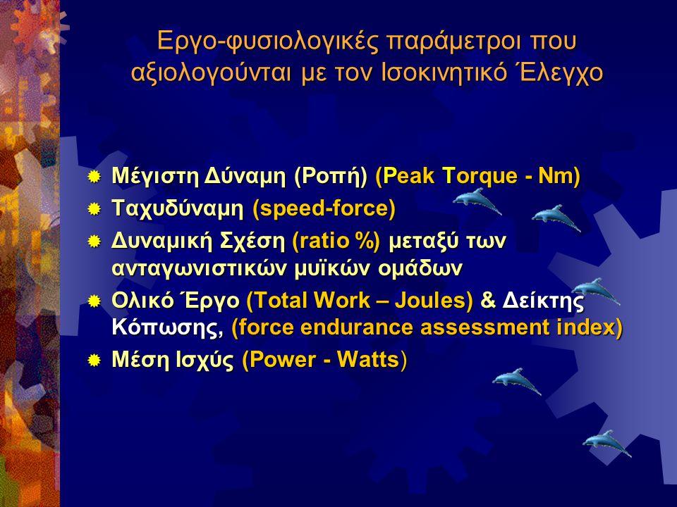 Εργο-φυσιολογικές παράμετροι που αξιολογούνται με τον Ισοκινητικό Έλεγχο  Μέγιστη Δύναμη (Ροπή) (Peak Torque - Nm)  Ταχυδύναμη (speed-force)  Δυναμ