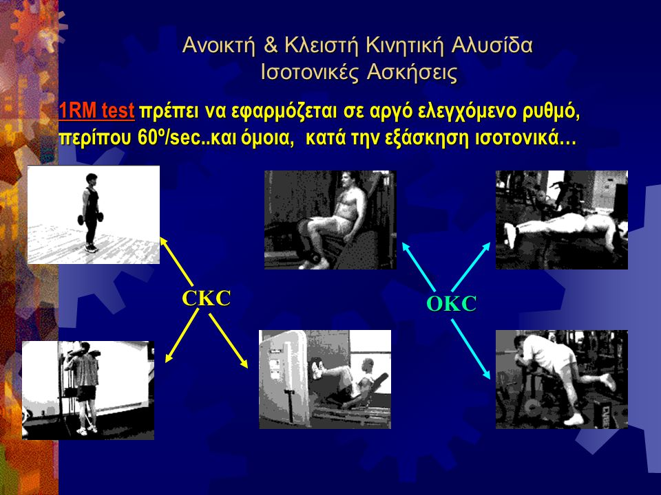 Ανοικτή & Κλειστή Κινητική Αλυσίδα Ισοτονικές Ασκήσεις CKC OKC 1RM test πρέπει να εφαρμόζεται σε αργό ελεγχόμενο ρυθμό, περίπου 60º/sec..και όμοια, κα