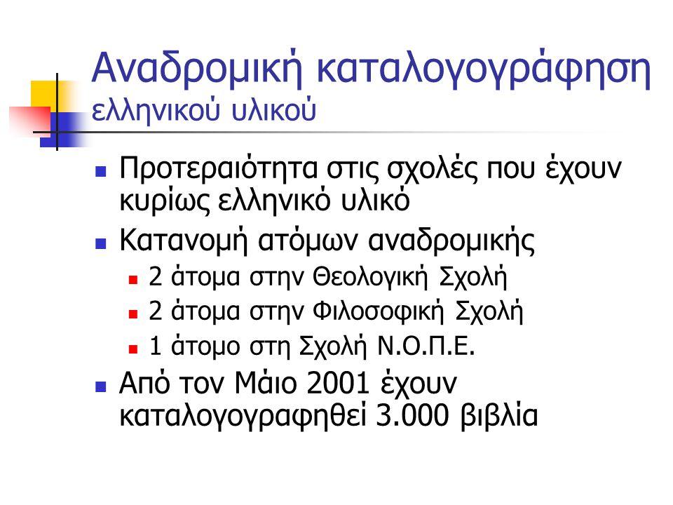 Αναδρομική καταλογογράφηση ελληνικού υλικού Το υλικό που πρέπει να καταγραφεί υπολογίζεται στους 80.000 τίτλους Ο μέσος ρυθμός καταλογογράφησης είναι 20 εγγραφές ανά ημέρα Στόχοι Ολοκλήρωση στο τέλος του 2003 Ενίσχυση συνεργείων