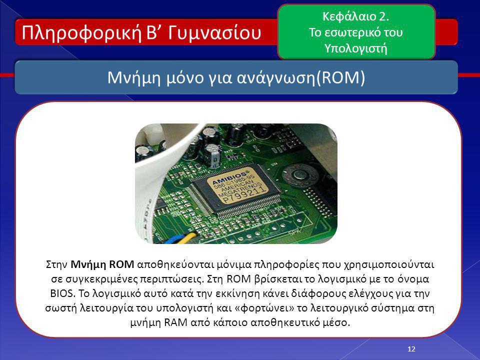 Πληροφορική Β' Γυμνασίου Κεφάλαιο 2. Το εσωτερικό του Υπολογιστή 12 Μνήμη μόνο για ανάγνωση(ROM) Στην Μνήμη ROM αποθηκεύονται μόνιμα πληροφορίες που χ