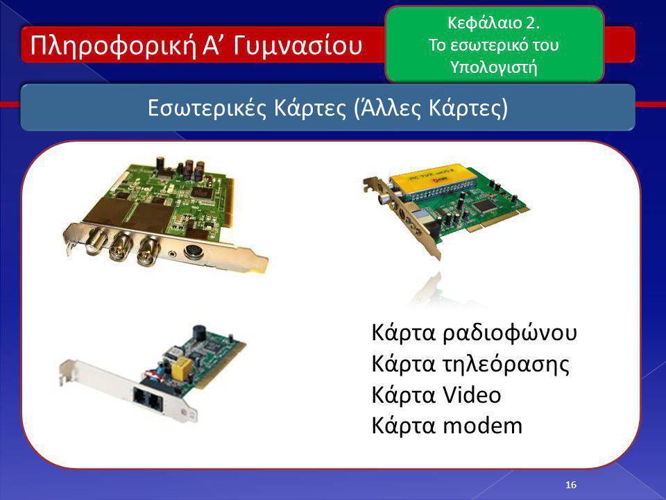 Πληροφορική Α' Γυμνασίου Κεφάλαιο 2. Το εσωτερικό του Υπολογιστή 16 Εσωτερικές Κάρτες (Άλλες Κάρτες) Κάρτα ραδιοφώνου Κάρτα τηλεόρασης Κάρτα Video Κάρ