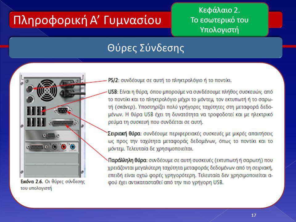 Πληροφορική Α' Γυμνασίου Κεφάλαιο 2. Το εσωτερικό του Υπολογιστή 17 Θύρες Σύνδεσης