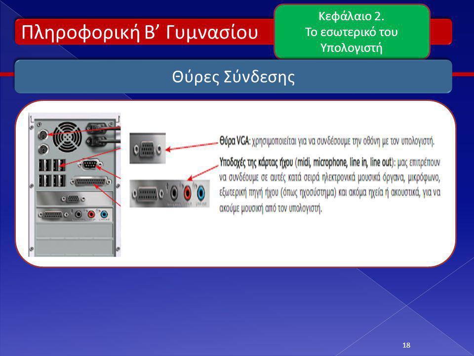 Πληροφορική Β' Γυμνασίου Κεφάλαιο 2. Το εσωτερικό του Υπολογιστή 18 Θύρες Σύνδεσης
