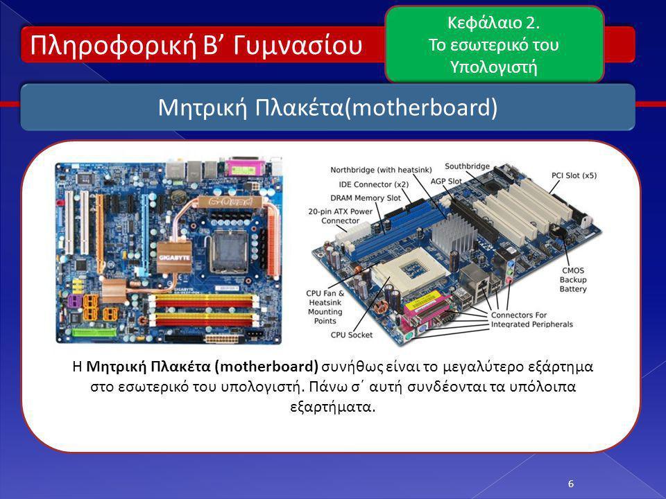 Πληροφορική Β' Γυμνασίου Κεφάλαιο 2. Το εσωτερικό του Υπολογιστή 6 Μητρική Πλακέτα(motherboard) H Μητρική Πλακέτα (motherboard) συνήθως είναι το μεγαλ