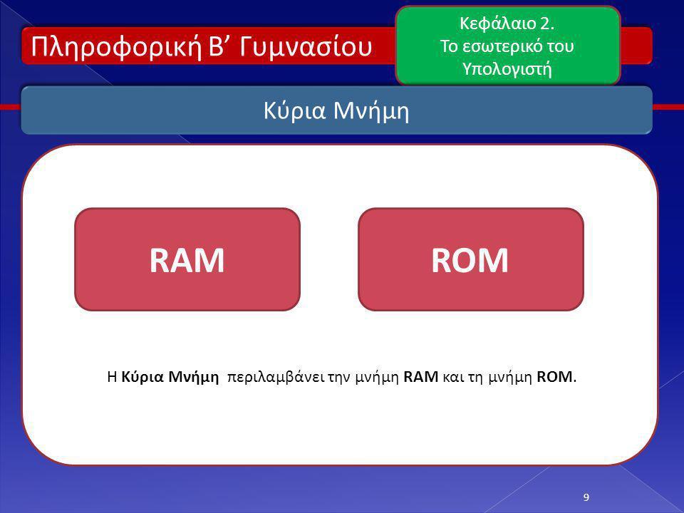 Πληροφορική Β' Γυμνασίου Κεφάλαιο 2. Το εσωτερικό του Υπολογιστή 9 Κύρια Μνήμη Η Κύρια Μνήμη περιλαμβάνει την μνήμη RAM και τη μνήμη ROM. RAMROM