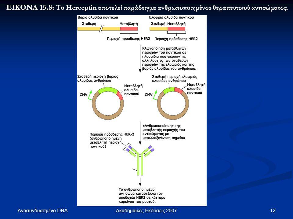 Ανασυνδυασμένο DNA 13Ακαδημαϊκές Εκδόσεις 2007 ΕΙΚΟΝΑ 15.9: ΕΙΚΟΝΑ 15.9: Το Gleevec αναπτύχθηκε ειδικά για την καταστολή της υβριδικής κινάσης BCR-ABL.