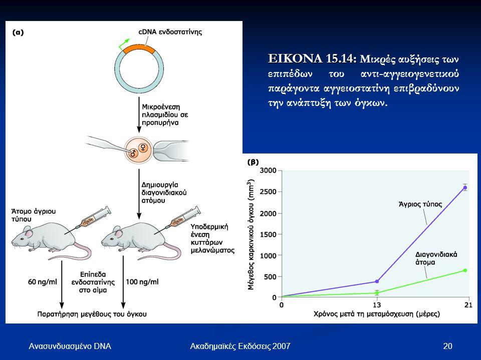Ανασυνδυασμένο DNA 21Ακαδημαϊκές Εκδόσεις 2007 ΕΙΚΟΝΑ 15.15: ΕΙΚΟΝΑ 15.15: Οι πολυμορφισμοί αριθμού αντιγράφων που φέρουν τα γονιδιώματα των όγκων μπορούν να ανιχνευτούν με ανάλυση εκπροσώπησης σε μικροσυστοιχία ολιγονουκλεοτιδίων (ROMA, Representational Oligonucleotide Microarray Analysis).