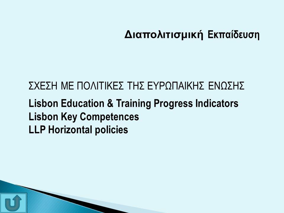 Διαπολιτισμική Εκπαίδευση ΣΧΕΣΗ ΜΕ ΠΟΛΙΤΙΚΕΣ ΤΗΣ ΕΥΡΩΠΑΙΚΗΣ ΕΝΩΣΗΣ Lisbon Education & Training Progress Indicators Lisbon Key Competences LLP Horizont