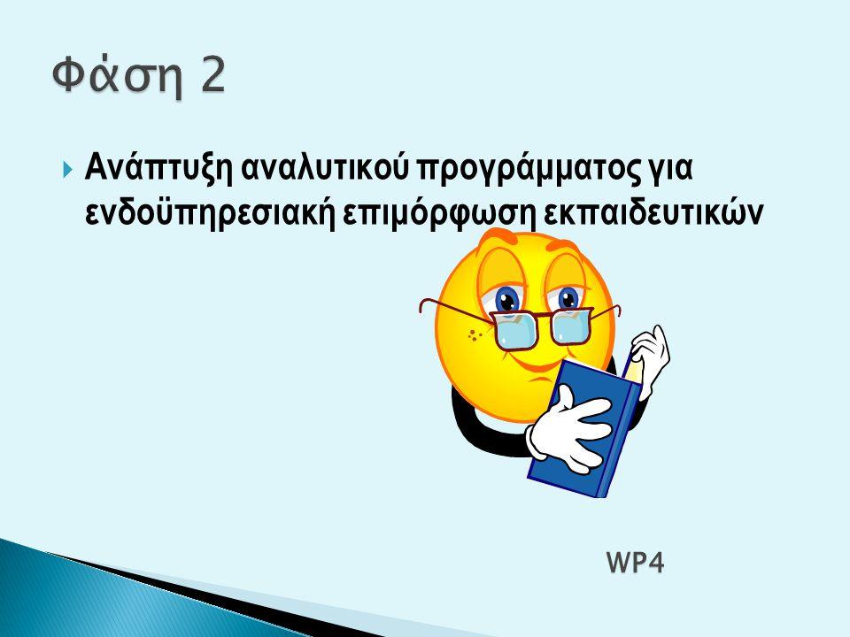  Ανάπτυξη αναλυτικού προγράμματος για ενδοϋπηρεσιακή επιμόρφωση εκπαιδευτικών WP4