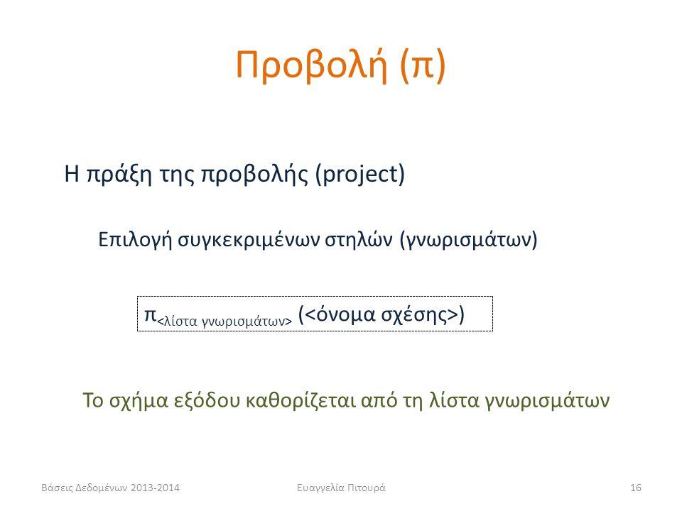Βάσεις Δεδομένων 2013-2014Ευαγγελία Πιτουρά16 Η πράξη της προβολής (project) π ( ) Επιλογή συγκεκριμένων στηλών (γνωρισμάτων) Προβολή (π) Το σχήμα εξόδου καθορίζεται από τη λίστα γνωρισμάτων
