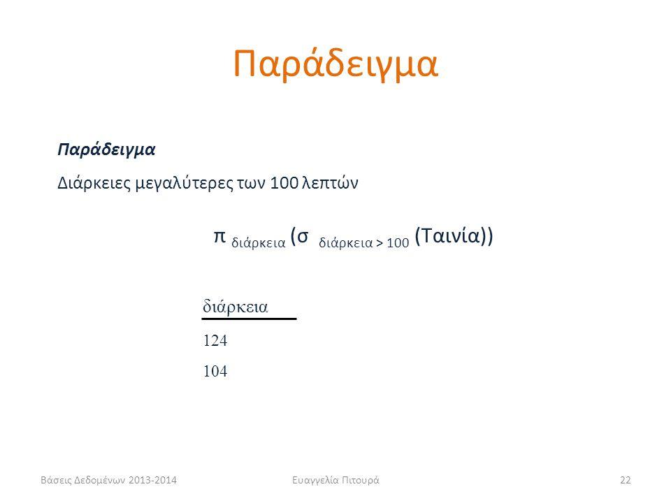 Βάσεις Δεδομένων 2013-2014Ευαγγελία Πιτουρά22 διάρκεια 124 104 Παράδειγμα Διάρκειες μεγαλύτερες των 100 λεπτών π διάρκεια (σ διάρκεια > 100 (Ταινία)) Παράδειγμα
