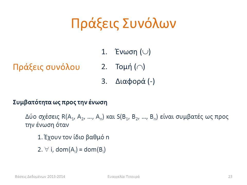 Βάσεις Δεδομένων 2013-2014Ευαγγελία Πιτουρά23 Πράξεις συνόλου 1. Ένωση (  ) 2. Τομή (  ) 3. Διαφορά (-) Συμβατότητα ως προς την ένωση Δύo σχέσεις R(