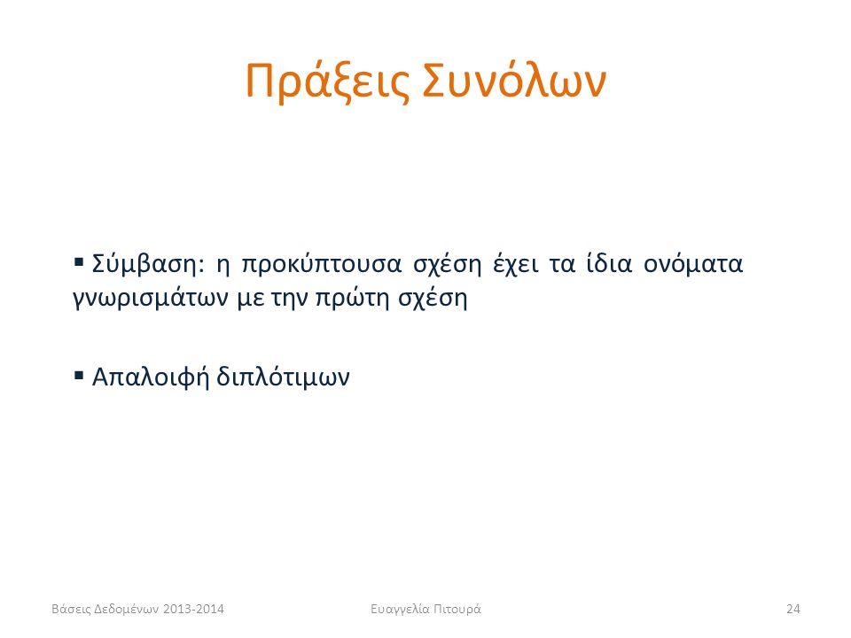 Βάσεις Δεδομένων 2013-2014Ευαγγελία Πιτουρά24  Σύμβαση: η προκύπτουσα σχέση έχει τα ίδια ονόματα γνωρισμάτων με την πρώτη σχέση  Απαλοιφή διπλότιμων Πράξεις Συνόλων