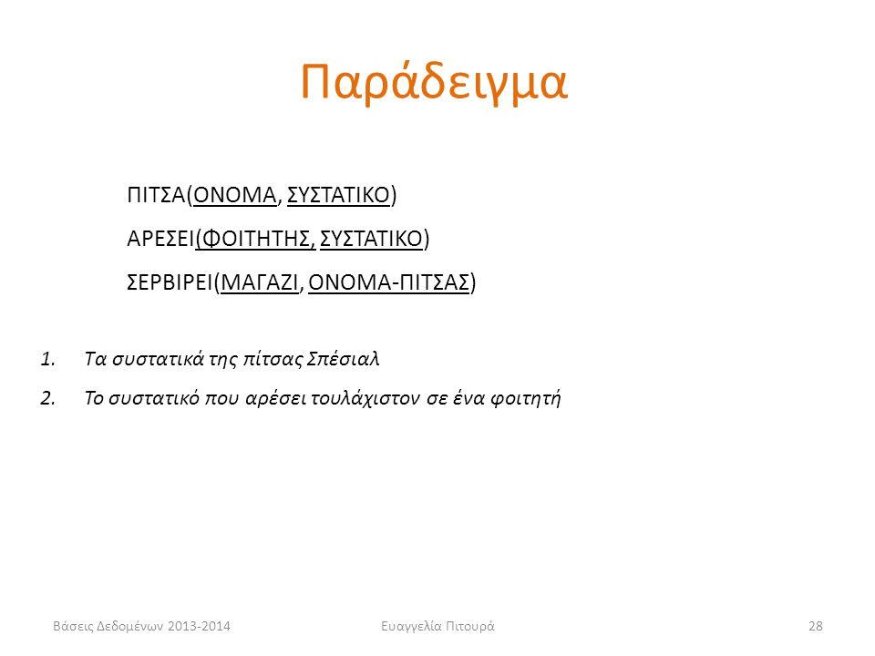 Βάσεις Δεδομένων 2013-2014Ευαγγελία Πιτουρά28 ΠΙΤΣΑ(ΟΝΟΜΑ, ΣΥΣΤΑΤΙΚΟ) ΑΡΕΣΕΙ(ΦΟΙΤΗΤΗΣ, ΣΥΣΤΑΤΙΚΟ) ΣΕΡΒΙΡΕΙ(ΜΑΓΑΖΙ, ΟΝΟΜΑ-ΠΙΤΣΑΣ) 1.Τα συστατικά της πίτσας Σπέσιαλ 2.Το συστατικό που αρέσει τουλάχιστον σε ένα φοιτητή Παράδειγμα