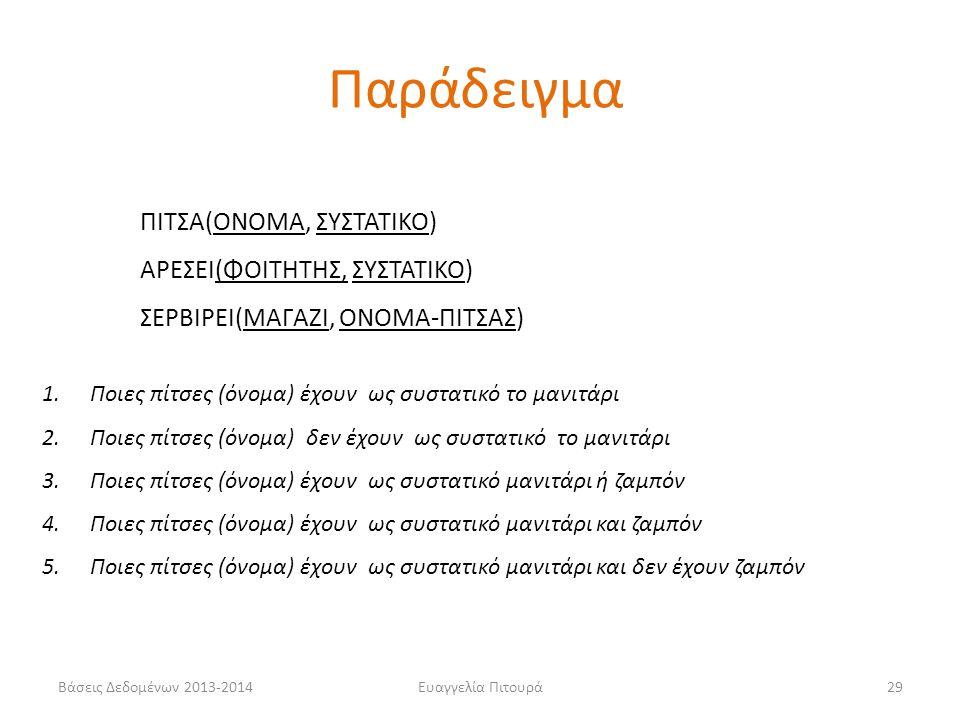 Βάσεις Δεδομένων 2013-2014Ευαγγελία Πιτουρά29 ΠΙΤΣΑ(ΟΝΟΜΑ, ΣΥΣΤΑΤΙΚΟ) ΑΡΕΣΕΙ(ΦΟΙΤΗΤΗΣ, ΣΥΣΤΑΤΙΚΟ) ΣΕΡΒΙΡΕΙ(ΜΑΓΑΖΙ, ΟΝΟΜΑ-ΠΙΤΣΑΣ) 1.Ποιες πίτσες (όνομα) έχουν ως συστατικό το μανιτάρι 2.Ποιες πίτσες (όνομα) δεν έχουν ως συστατικό το μανιτάρι 3.Ποιες πίτσες (όνομα) έχουν ως συστατικό μανιτάρι ή ζαμπόν 4.Ποιες πίτσες (όνομα) έχουν ως συστατικό μανιτάρι και ζαμπόν 5.Ποιες πίτσες (όνομα) έχουν ως συστατικό μανιτάρι και δεν έχουν ζαμπόν Παράδειγμα