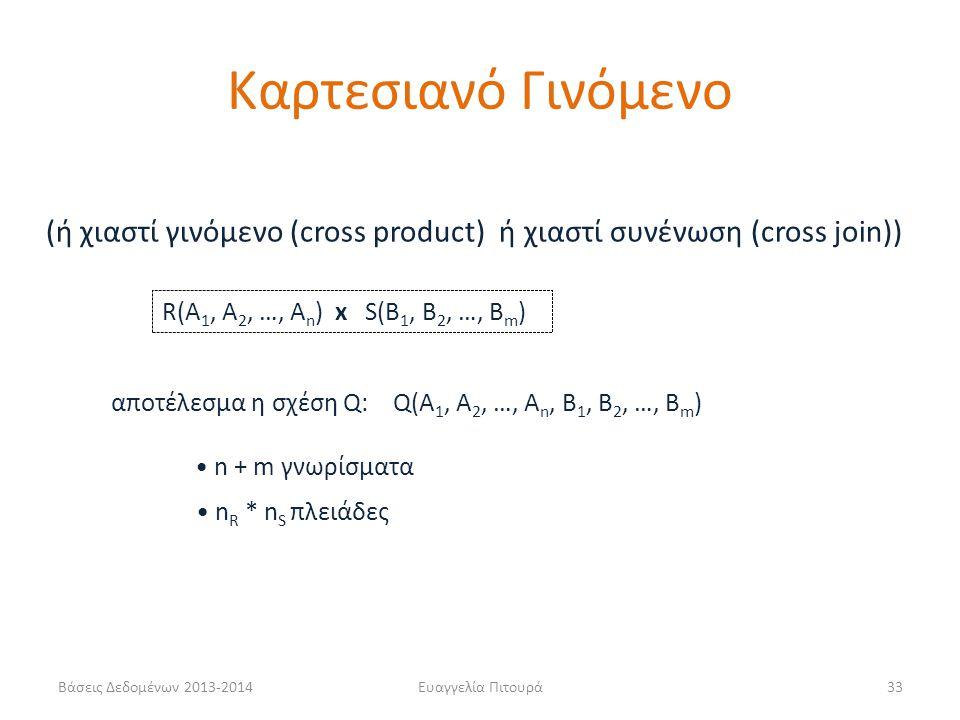 Βάσεις Δεδομένων 2013-2014Ευαγγελία Πιτουρά33 R(A 1, A 2, …, A n ) x S(B 1, B 2, …, B m ) (ή χιαστί γινόμενο (cross product) ή χιαστί συνένωση (cross join)) αποτέλεσμα η σχέση Q: Q(A 1, A 2, …, A n, B 1, B 2, …, B m ) n + m γνωρίσματα n R * n S πλειάδες Καρτεσιανό Γινόμενο