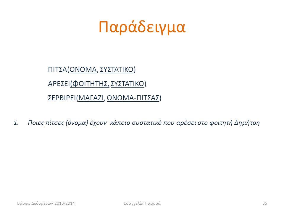 Βάσεις Δεδομένων 2013-2014Ευαγγελία Πιτουρά35 ΠΙΤΣΑ(ΟΝΟΜΑ, ΣΥΣΤΑΤΙΚΟ) ΑΡΕΣΕΙ(ΦΟΙΤΗΤΗΣ, ΣΥΣΤΑΤΙΚΟ) ΣΕΡΒΙΡΕΙ(ΜΑΓΑΖΙ, ΟΝΟΜΑ-ΠΙΤΣΑΣ) 1.Ποιες πίτσες (όνομα