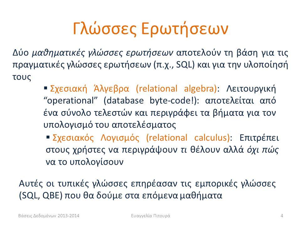 Βάσεις Δεδομένων 2013-2014Ευαγγελία Πιτουρά35 ΠΙΤΣΑ(ΟΝΟΜΑ, ΣΥΣΤΑΤΙΚΟ) ΑΡΕΣΕΙ(ΦΟΙΤΗΤΗΣ, ΣΥΣΤΑΤΙΚΟ) ΣΕΡΒΙΡΕΙ(ΜΑΓΑΖΙ, ΟΝΟΜΑ-ΠΙΤΣΑΣ) 1.Ποιες πίτσες (όνομα) έχουν κάποιο συστατικό που αρέσει στο φοιτητή Δημήτρη Παράδειγμα