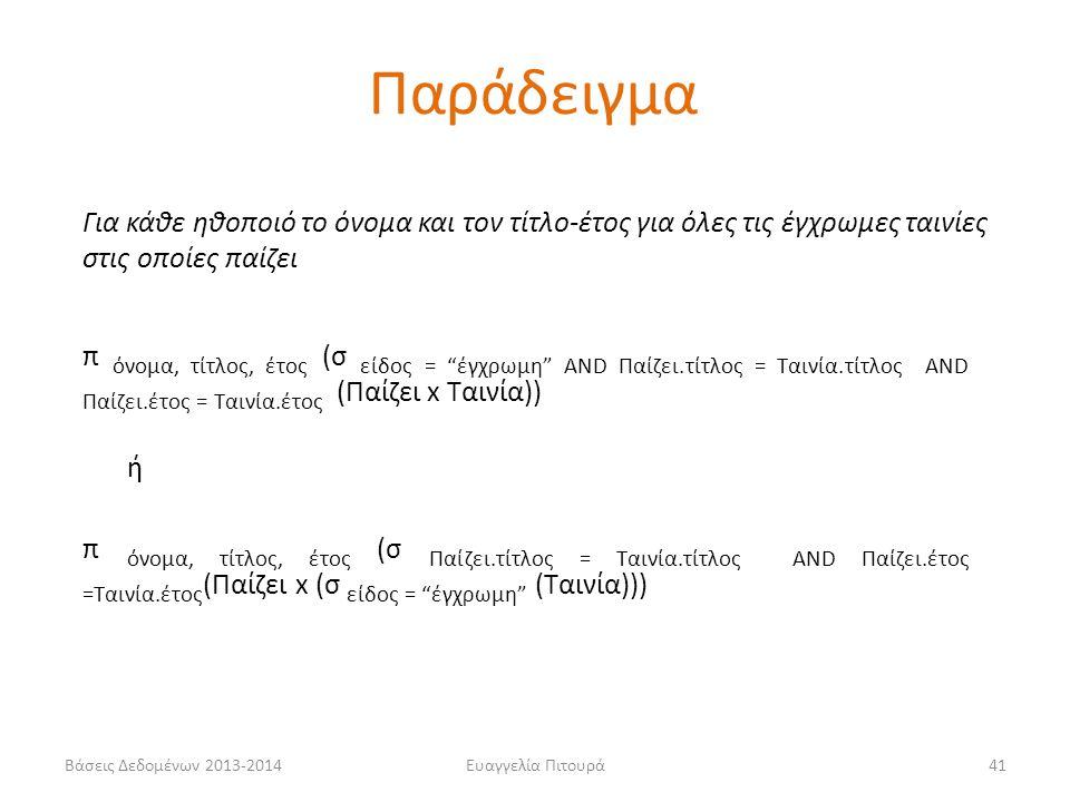 Βάσεις Δεδομένων 2013-2014Ευαγγελία Πιτουρά41 Για κάθε ηθοποιό το όνομα και τον τίτλο-έτος για όλες τις έγχρωμες ταινίες στις οποίες παίζει π όνομα, τ