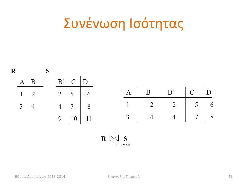 Βάσεις Δεδομένων 2013-2014Ευαγγελία Πιτουρά49 Α Β 1 2 3 4 B' C D 2 5 6 4 7 8 9 10 11 RS A B B' C D 1 2 2 5 6 3 4 4 7 8 R S R.B = S.B Συνένωση Ισότητας