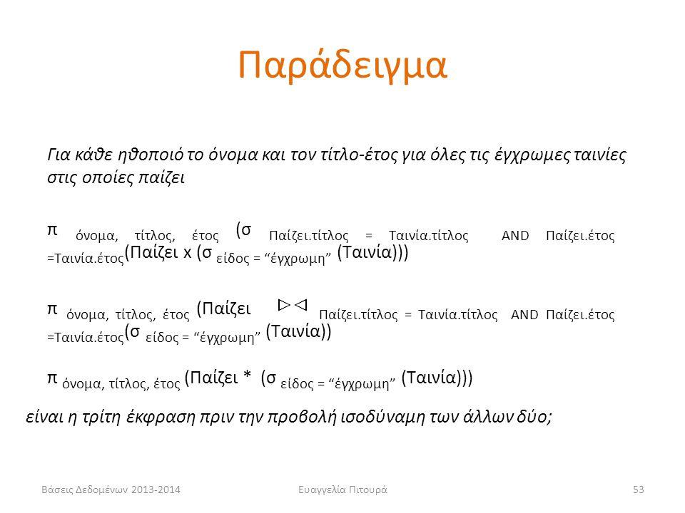 Βάσεις Δεδομένων 2013-2014Ευαγγελία Πιτουρά53 Για κάθε ηθοποιό το όνομα και τον τίτλο-έτος για όλες τις έγχρωμες ταινίες στις οποίες παίζει π όνομα, τ