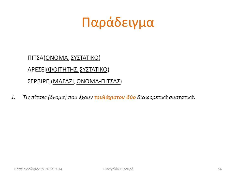 Βάσεις Δεδομένων 2013-2014Ευαγγελία Πιτουρά56 1.Τις πίτσες (όνομα) που έχουν τουλάχιστον δύο διαφορετικά συστατικά.