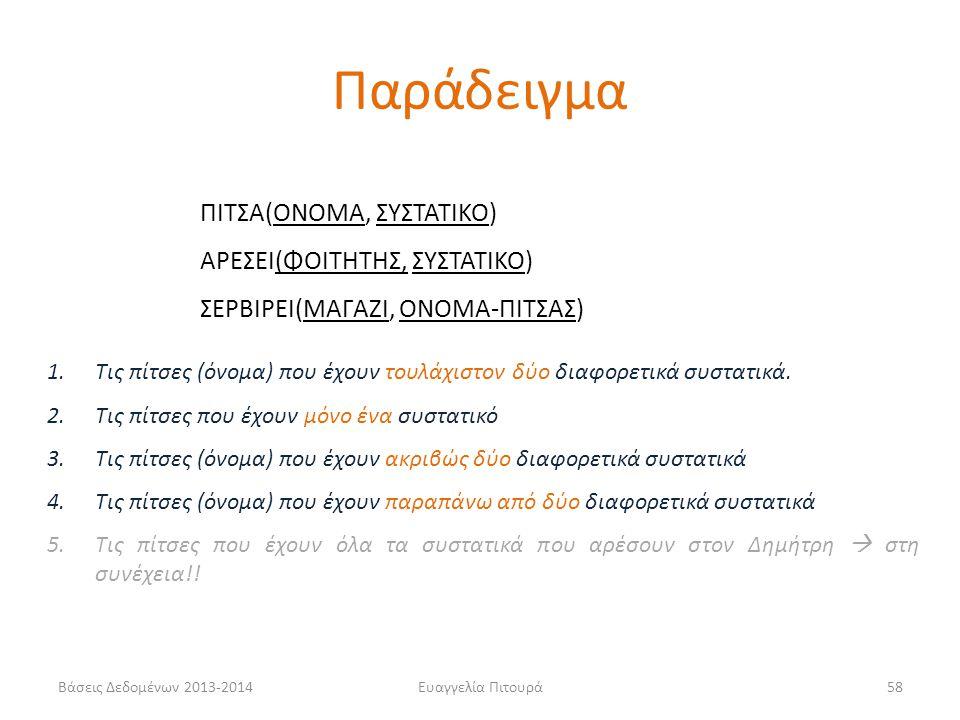 Βάσεις Δεδομένων 2013-2014Ευαγγελία Πιτουρά58 1.Τις πίτσες (όνομα) που έχουν τουλάχιστον δύο διαφορετικά συστατικά.