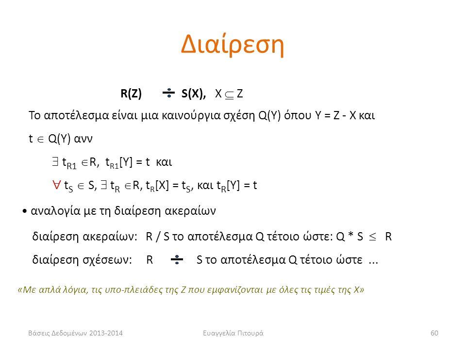 Βάσεις Δεδομένων 2013-2014Ευαγγελία Πιτουρά60 R(Z) S(X), X  Z Το αποτέλεσμα είναι μια καινούργια σχέση Q(Y) όπου Y = Z - X και t  Q(Y) ανν  t R1  R, t R1 [Y] = t και  t S  S,  t R  R, t R [X] = t S, και t R [Y] = t αναλογία με τη διαίρεση ακεραίων διαίρεση ακεραίων: R / S το αποτέλεσμα Q τέτοιο ώστε: Q * S  R διαίρεση σχέσεων: R S το αποτέλεσμα Q τέτοιο ώστε...
