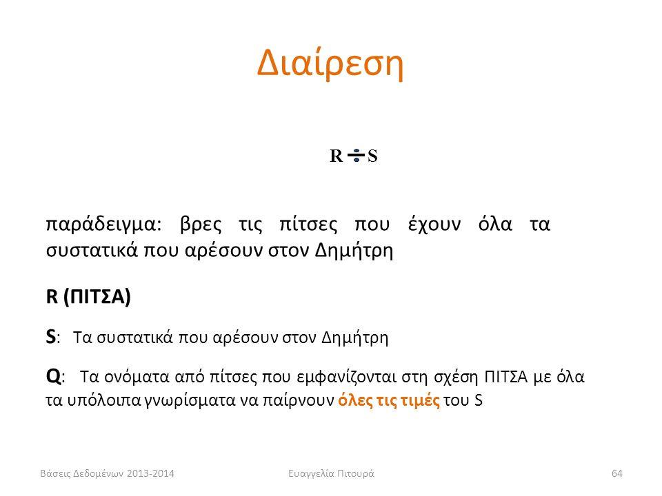 Βάσεις Δεδομένων 2013-2014Ευαγγελία Πιτουρά64 παράδειγμα: βρες τις πίτσες που έχουν όλα τα συστατικά που αρέσουν στον Δημήτρη R (ΠΙΤΣΑ) S : Τα συστατικά που αρέσουν στον Δημήτρη Q : Τα ονόματα από πίτσες που εμφανίζονται στη σχέση ΠΙΤΣΑ με όλα τα υπόλοιπα γνωρίσματα να παίρνουν όλες τις τιμές του S R S Διαίρεση