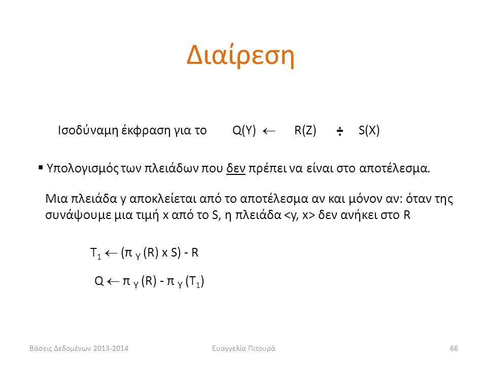 Βάσεις Δεδομένων 2013-2014Ευαγγελία Πιτουρά66 Iσοδύναμη έκφραση για το  Υπολογισμός των πλειάδων που δεν πρέπει να είναι στο αποτέλεσμα. Q(Υ)  R(Ζ)