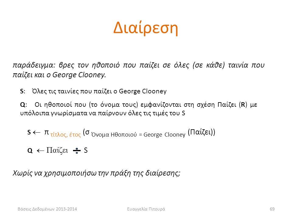 Βάσεις Δεδομένων 2013-2014Ευαγγελία Πιτουρά69 S  π τίτλος, έτος (σ Όνομα Ηθοποιού = George Clooney (Παίζει)) Q  Παίζει S Χωρίς να χρησιμοποιήσω την