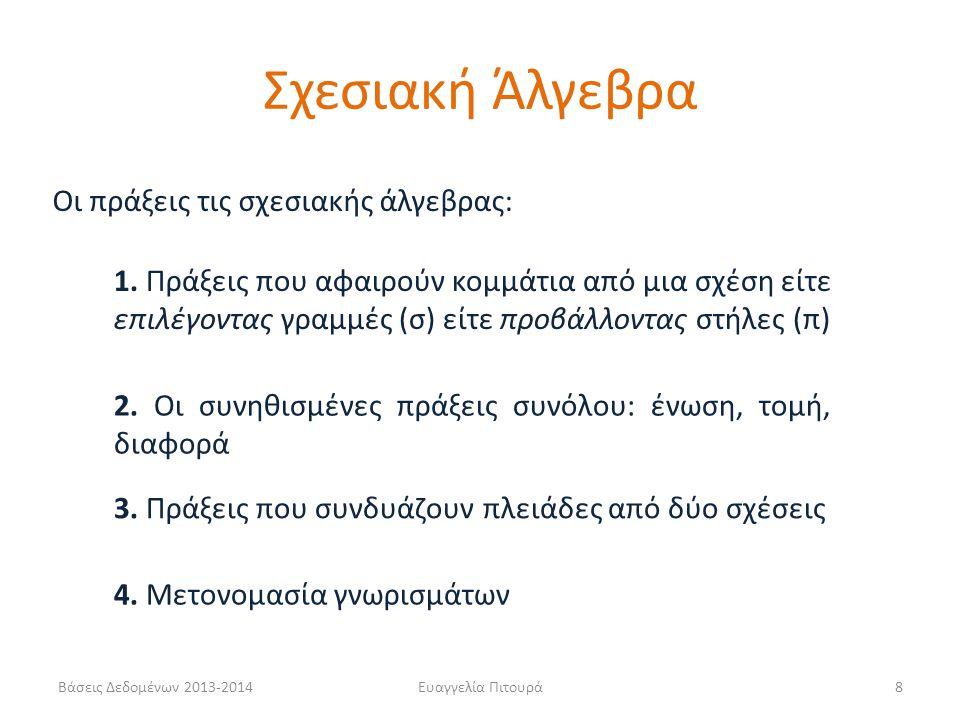 Βάσεις Δεδομένων 2013-2014Ευαγγελία Πιτουρά9 Η πράξη της επιλογής (select) σ ( ) Επιλογή ενός υποσυνόλου των πλειάδων μιας σχέσης που ικανοποιεί μια συνθήκη επιλογής Επιλογή (σ) Το σχήμα εξόδου είναι ίδιο με το σχήμα εισόδου