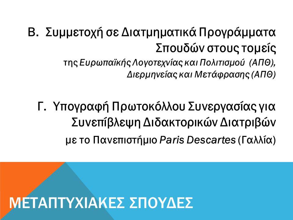 Β. Συμμετοχή σε Διατμηματικά Προγράμματα Σπουδών στους τομείς της Ευρωπαϊκής Λογοτεχνίας και Πολιτισμού (ΑΠΘ), Διερμηνείας και Μετάφρασης (ΑΠΘ) Γ. Υπο