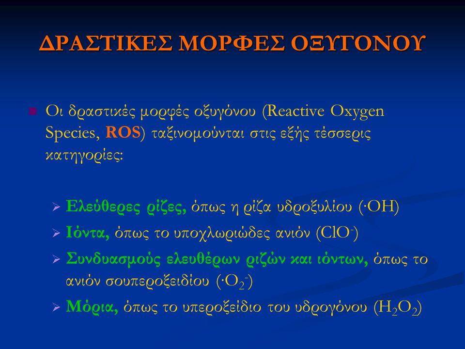 ΔΡΑΣΤΙΚΕΣ ΜΟΡΦΕΣ ΟΞΥΓΟΝΟΥ Οι δραστικές μορφές οξυγόνου (Reactive Oxygen Species, ROS) ταξινομούνται στις εξής τέσσερις κατηγορίες:   Ελεύθερες ρίζες, όπως η ρίζα υδροξυλίου (∙ΟΗ)   Ιόντα, όπως το υποχλωριώδες ανιόν (ClO - )   Συνδυασμούς ελευθέρων ριζών και ιόντων, όπως το ανιόν σουπεροξειδίου (∙O 2 - )   Μόρια, όπως το υπεροξείδιο του υδρογόνου (H 2 O 2 )