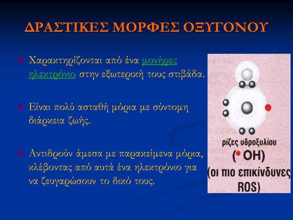 ΔΡΑΣΤΙΚΕΣ ΜΟΡΦΕΣ ΟΞΥΓΟΝΟΥ Χαρακτηρίζονται από ένα μονήρες ηλεκτρόνιο στην εξωτερική τους στιβάδα. Είναι πολύ ασταθή μόρια με σύντομη διάρκεια ζωής. Αν
