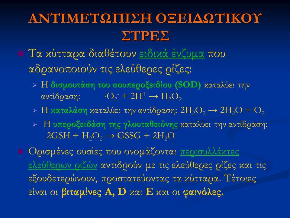 ΑΝΤΙΜΕΤΩΠΙΣΗ ΟΞΕΙΔΩΤΙΚΟΥ ΣΤΡΕΣ Τα κύτταρα διαθέτουν ειδικά ένζυμα που αδρανοποιούν τις ελεύθερες ρίζες:   Η δισμουτάση του σουπεροξειδίου (SOD) καταλύει την αντίδραση:∙Ο 2 - + 2Η + → Η 2 Ο 2   Η καταλάση καταλύει την αντίδραση: 2Η 2 Ο 2 → 2Η 2 Ο + Ο 2   Η υπεροξειδάση της γλουταθειόνης καταλύει την αντίδραση: 2GSH + Η 2 Ο 2 → GSSG + 2Η 2 Ο Ορισμένες ουσίες που ονομάζονται περισυλλέκτες ελεύθερων ριζών αντιδρούν με τις ελεύθερες ρίζες και τις εξουδετερώνουν, προστατεύοντας τα κύτταρα.