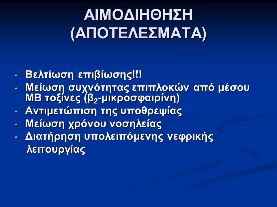 ΑΙΜΟΔΙΗΘΗΣΗ (ΑΠΟΤΕΛΕΣΜΑΤΑ) Βελτίωση επιβίωσης!!! Βελτίωση επιβίωσης!!! Μείωση συχνότητας επιπλοκών από μέσου ΜΒ τοξίνες (β 2 -μικροσφαιρίνη) Μείωση συ