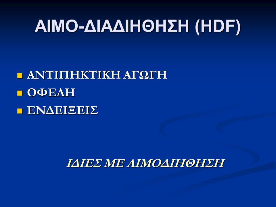 ΑΙΜΟ-ΔΙΑΔΙΗΘΗΣΗ (HDF) ΑΝΤΙΠΗΚΤΙΚΗ ΑΓΩΓΗ ΑΝΤΙΠΗΚΤΙΚΗ ΑΓΩΓΗ ΟΦΕΛΗ ΟΦΕΛΗ ΕΝΔΕΙΞΕΙΣ ΕΝΔΕΙΞΕΙΣ ΙΔΙΕΣ ΜΕ ΑΙΜΟΔΙΗΘΗΣΗ ΙΔΙΕΣ ΜΕ ΑΙΜΟΔΙΗΘΗΣΗ