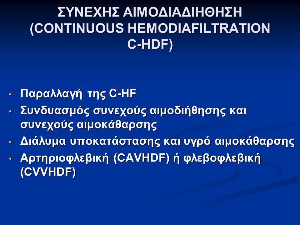 ΣΥΝΕΧΗΣ ΑΙΜΟΔΙΑΔΙΗΘΗΣΗ (CONTINUOUS HEMODIAFILTRATION C-HDF) Παραλλαγή της C-HF Παραλλαγή της C-HF Συνδυασμός συνεχούς αιμοδιήθησης και συνεχούς αιμοκάθαρσης Συνδυασμός συνεχούς αιμοδιήθησης και συνεχούς αιμοκάθαρσης Διάλυμα υποκατάστασης και υγρό αιμοκάθαρσης Διάλυμα υποκατάστασης και υγρό αιμοκάθαρσης Αρτηριοφλεβική (CAVHDF) ή φλεβοφλεβική (CVVHDF) Αρτηριοφλεβική (CAVHDF) ή φλεβοφλεβική (CVVHDF)