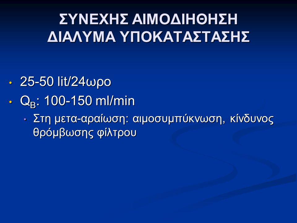 ΣΥΝΕΧΗΣ ΑΙΜΟΔΙΗΘΗΣΗ ΔΙΑΛΥΜΑ ΥΠΟΚΑΤΑΣΤΑΣΗΣ 25-50 lit/24ωρο 25-50 lit/24ωρο Q B : 100-150 ml/min Q B : 100-150 ml/min Στη μετα-αραίωση: αιμοσυμπύκνωση, κίνδυνος θρόμβωσης φίλτρου Στη μετα-αραίωση: αιμοσυμπύκνωση, κίνδυνος θρόμβωσης φίλτρου