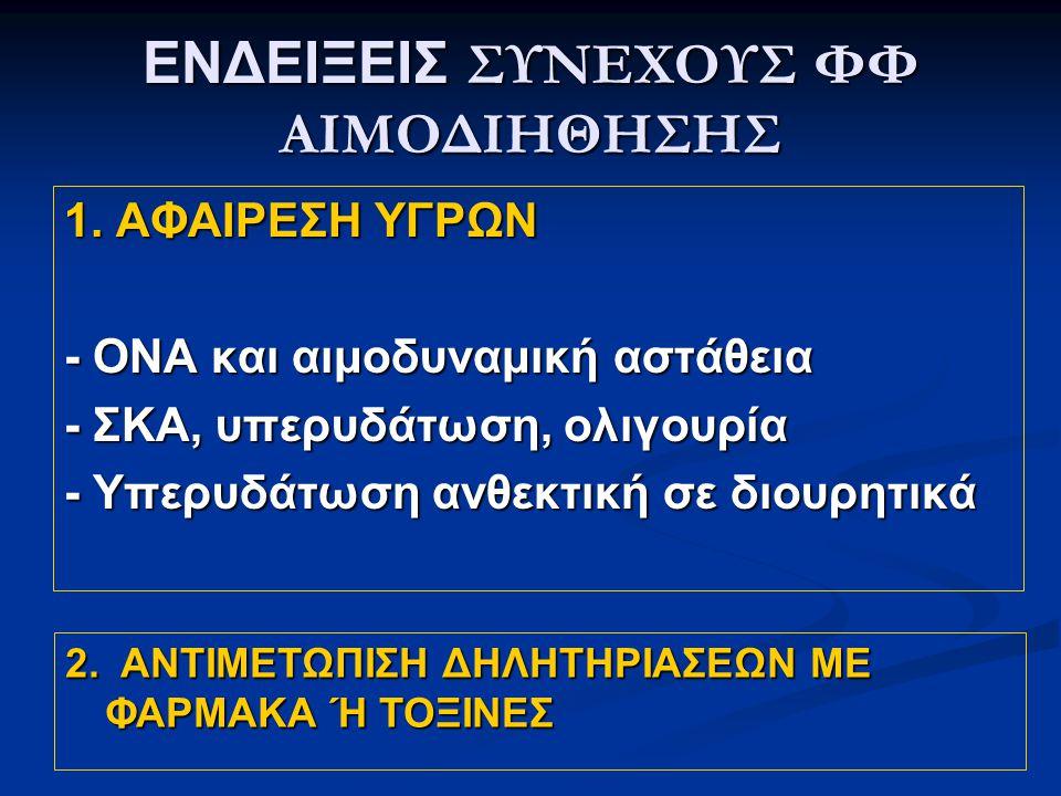 ΕΝΔΕΙΞΕΙΣ ΣΥΝΕΧΟΥΣ ΦΦ ΑΙΜΟΔΙΗΘΗΣΗΣ 1.