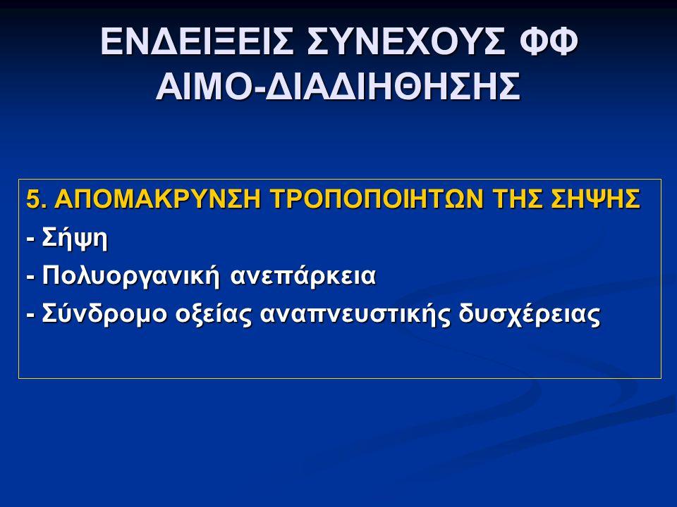 ΕΝΔΕΙΞΕΙΣ ΣΥΝΕΧΟΥΣ ΦΦ ΑΙΜΟ-ΔΙΑΔΙΗΘΗΣΗΣ 5.
