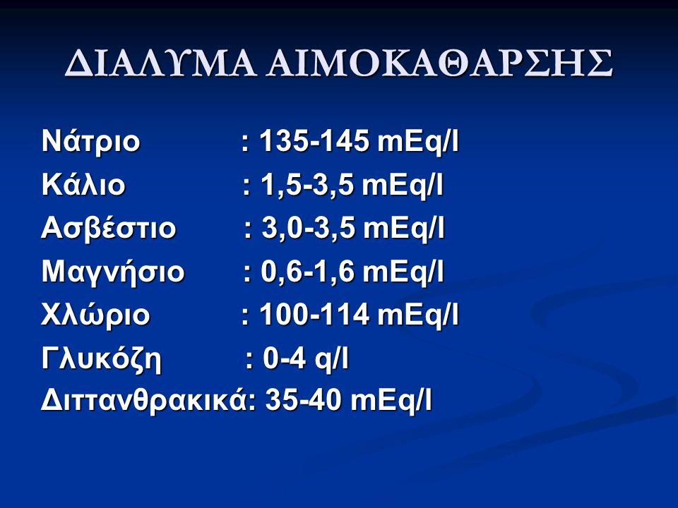 ΔΙΑΛΥΜΑ ΑΙΜΟΚΑΘΑΡΣΗΣ Νάτριο : 135-145 mEq/l Κάλιο : 1,5-3,5 mEq/l Ασβέστιο : 3,0-3,5 mEq/l Μαγνήσιο : 0,6-1,6 mEq/l Χλώριο : 100-114 mEq/l Γλυκόζη : 0-4 q/l Διττανθρακικά: 35-40 mEq/l