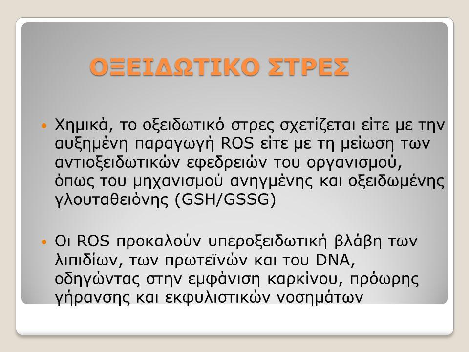 ΟΞΕΙΔΩΤΙΚΟ ΣΤΡΕΣ ΟΞΕΙΔΩΤΙΚΟ ΣΤΡΕΣ Χημικά, το οξειδωτικό στρες σχετίζεται είτε με την αυξημένη παραγωγή ROS είτε με τη μείωση των αντιοξειδωτικών εφεδρ