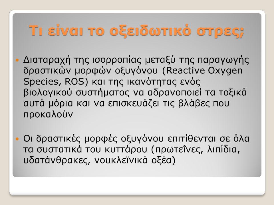 Τι είναι το οξειδωτικό στρες; Τι είναι το οξειδωτικό στρες; Διαταραχή της ισορροπίας μεταξύ της παραγωγής δραστικών μορφών οξυγόνου (Reactive Oxygen S