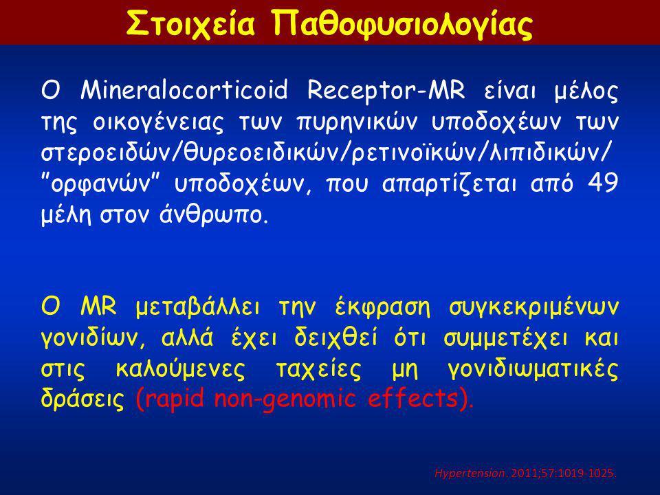 """Ο Mineralocorticoid Receptor-MR είναι μέλος της οικογένειας των πυρηνικών υποδοχέων των στεροειδών/θυρεοειδικών/ρετινοϊκών/λιπιδικών/ """"ορφανών"""" υποδοχ"""