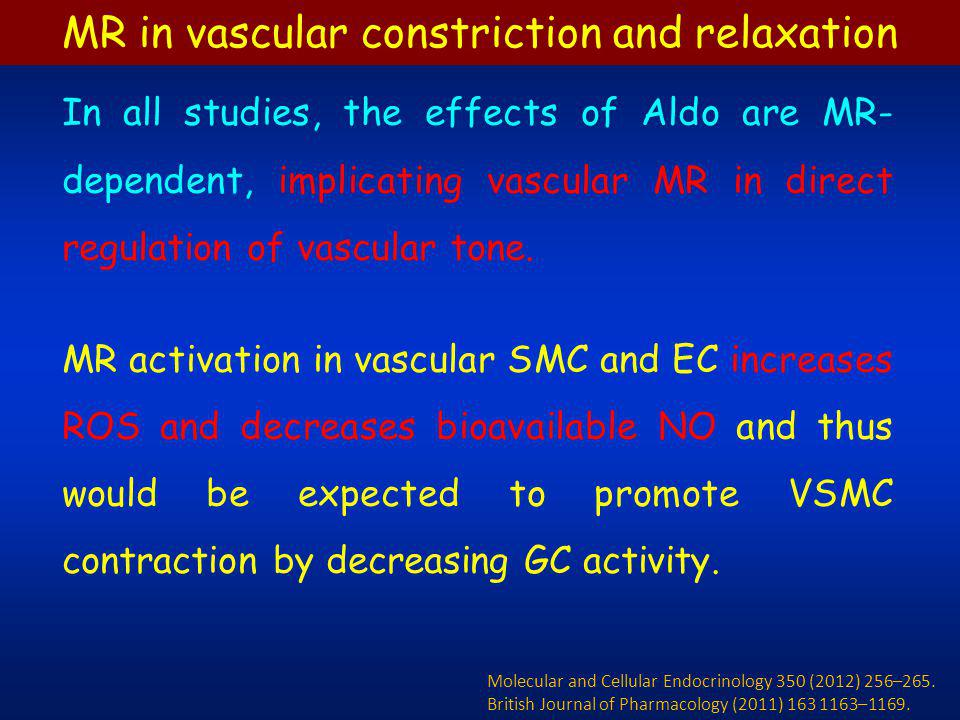 In all studies, the effects of Aldo are MR- dependent, implicating vascular MR in direct regulation of vascular tone. MR activation in vascular SMC an